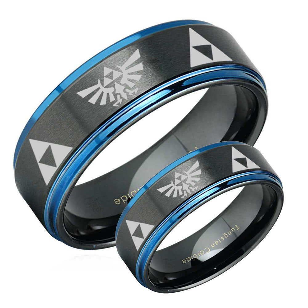 Legend Of Zelda His Hers Tungsten Wedding Band Set, Black Anniversary Ring Sets, Blue Step Ring, Promise For Couples