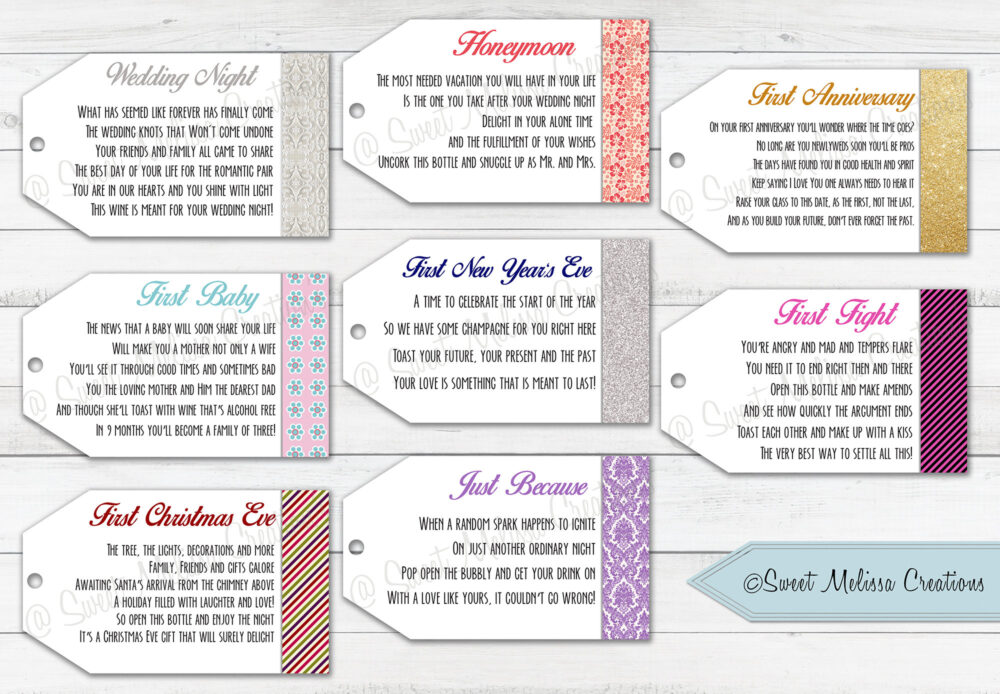 Marriage Wine Tags-1st Milestone-Printed-Newlyweds-Bridal Showers-Bachelorette Party-Wine Gift Baskets-Set Of 8 Tags