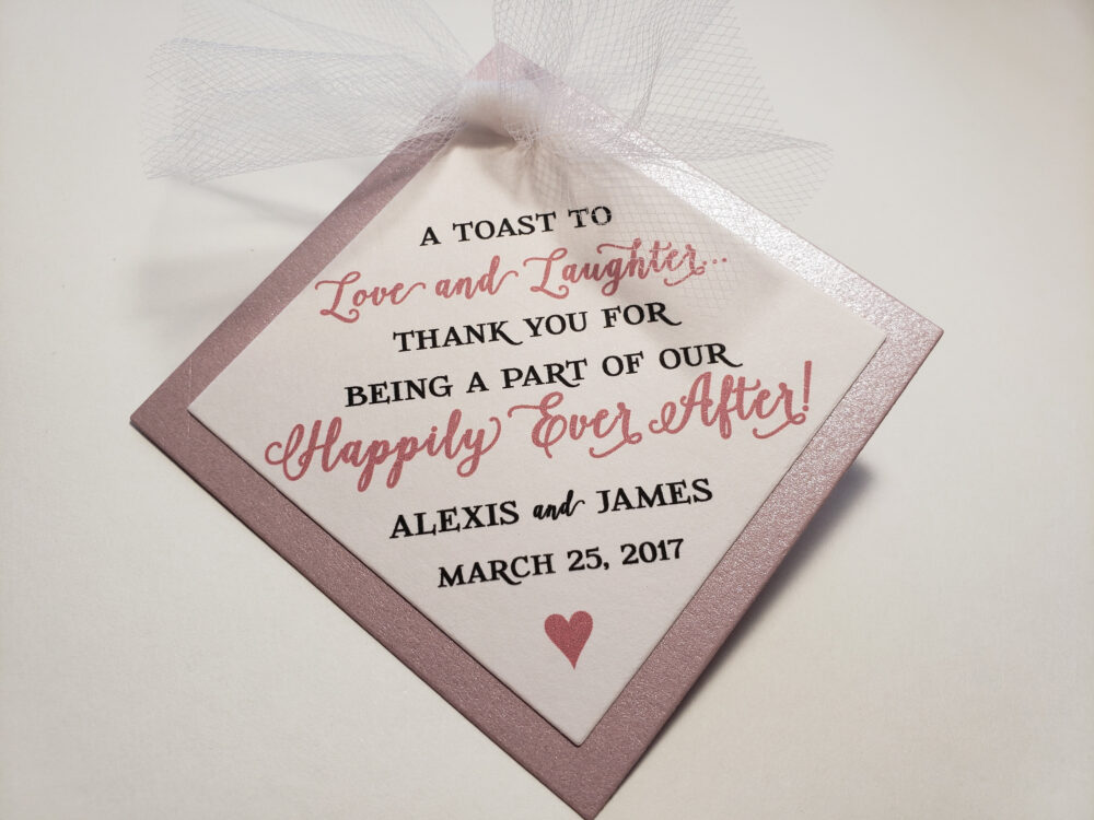 Wedding Champagne Toast Favor Tags Happily Ever After Blush Rose Gold Wine Tags, Favor