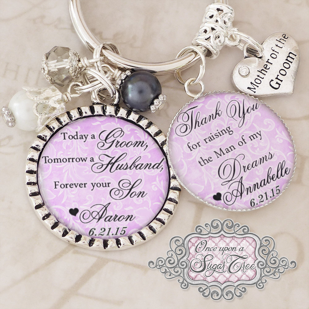 Mother Of The Groom Gift, Personalized Wedding Keychain Purple Damask | Or Necklace - Gift From Bride, Groom, Wedding Date Jewelry