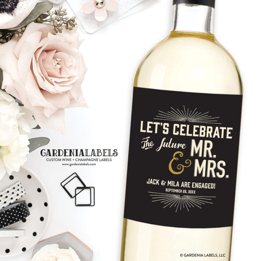 Engagement Party Wine Labels, Newly Engaged Gift, Wedding Gift Champagne, Favors, Couples Shower