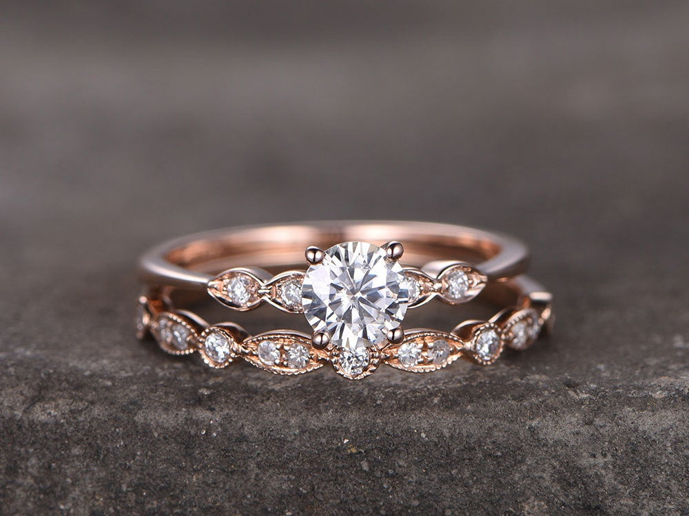 Round Sterling Silver Ring Set/Cubic Zirconia Wedding Band/Cz Engagement Ring/Stack Ring/2Pcs Matching Ring/Promise Ring/Rose Gold Plated