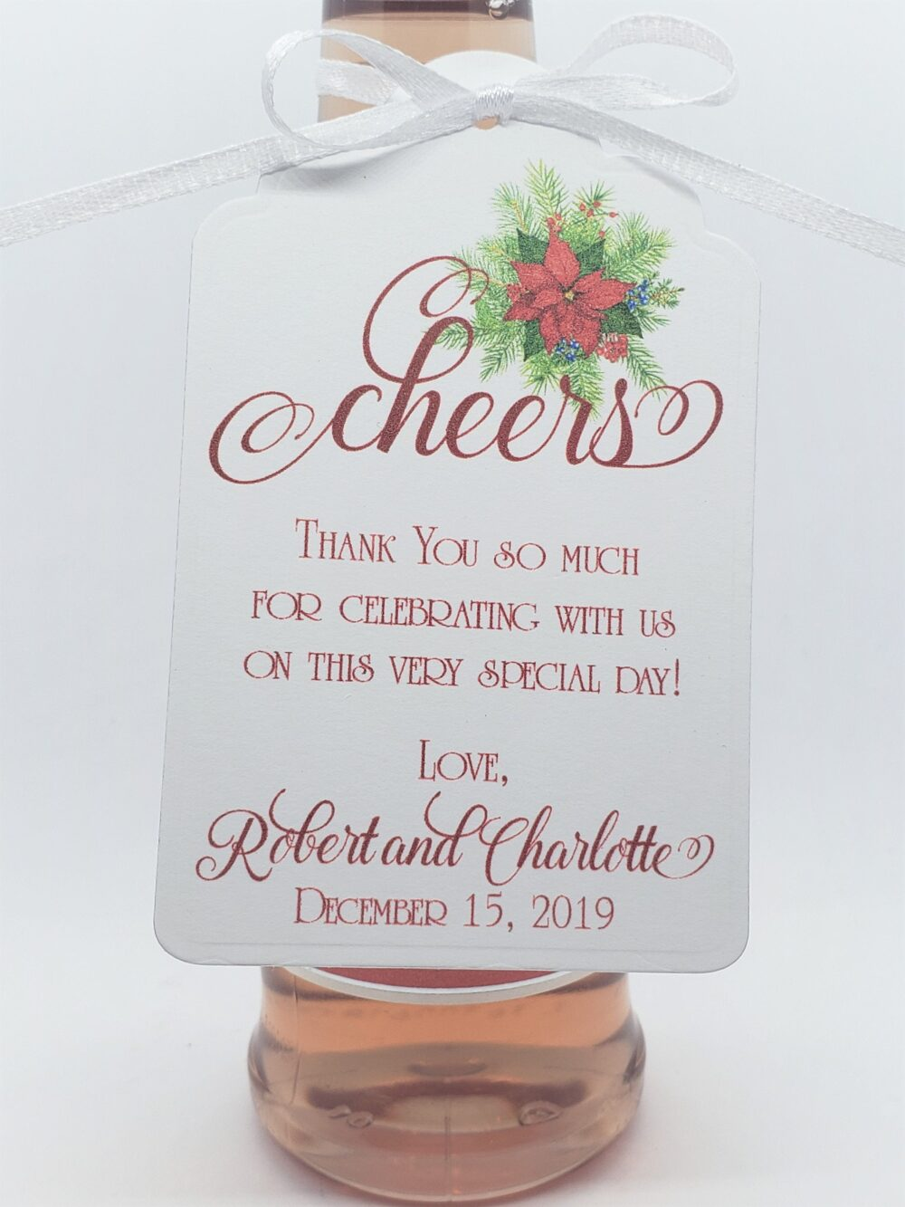 Winter Wedding Cheers Favor Tag, Wine Bottle Favor, Champagne Christmas Wedding, Custom Tags, Engagement Party Tags