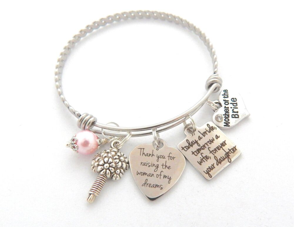 Mother Of The Bride Charm Bracelet-Mother Bride Gift - For From Daughter - Wedding Gift Bride-Wedding Son in Law