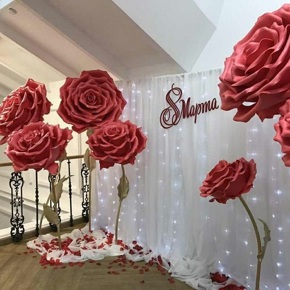 Large Paper Flowers For The Photo Zone. Giant Wedding Decoration. Baby Room Decor. Wedding Interior Rose