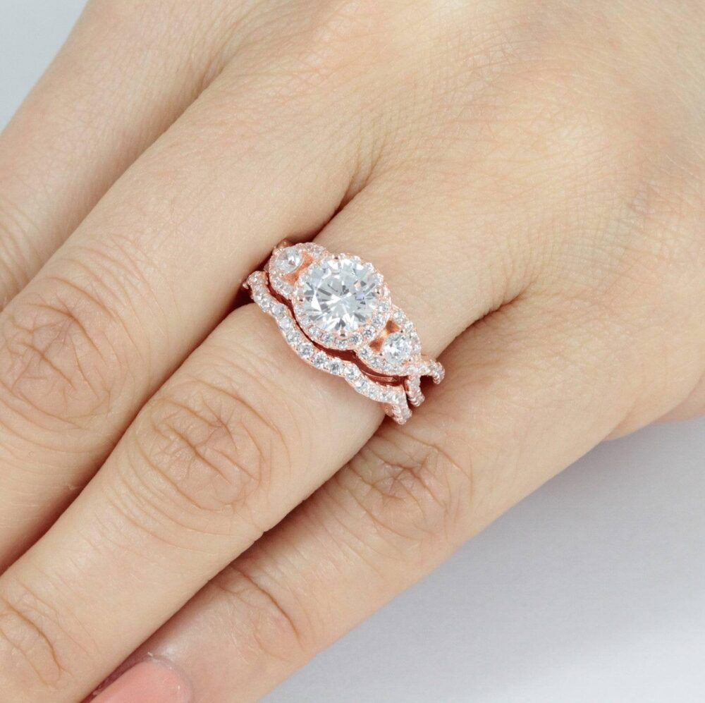 Rose Gold Over 925 Sterling Silver Cz Wedding Band Engagement Promise Ring Rings Set Women's Size 3-14 W53R