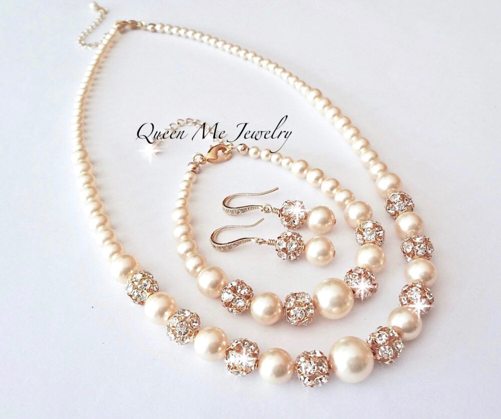 Gold Pearl Jewelry Set, 3 Piece Earrings, Necklace & Bracelet For A Bride Mother Of The Bride, Wedding Jewelry. Bridal Gift. Isabella