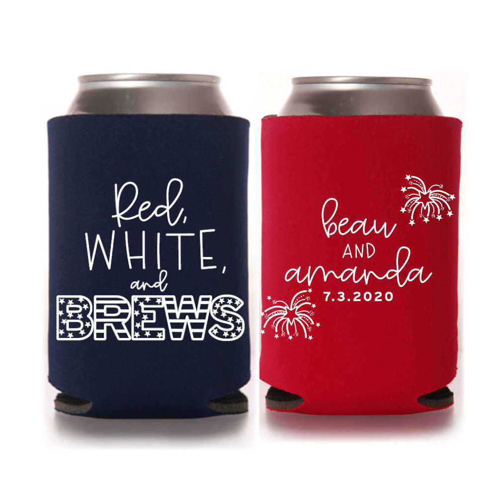 4Th Of July Wedding Favors - Custom Personalized Can Coolers, Reception Favors, Summer Wedding, Fall Fourth