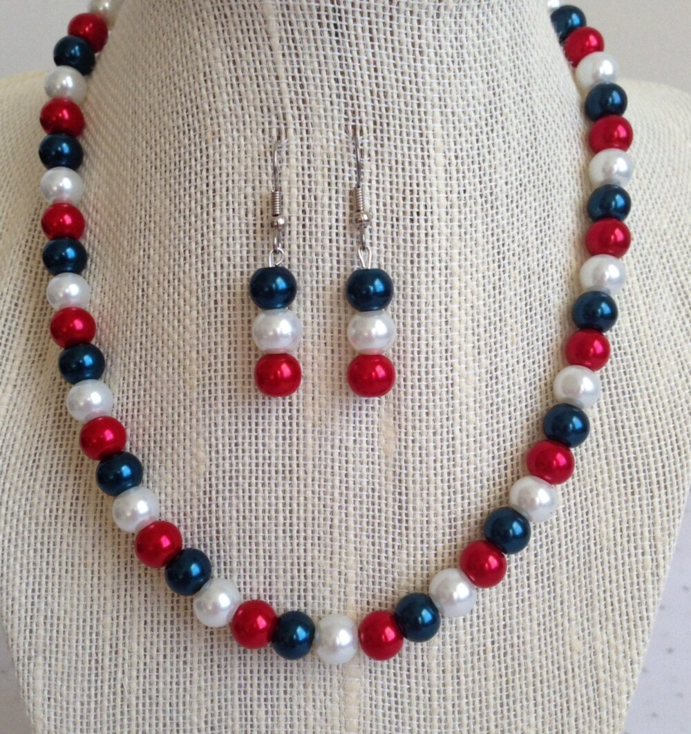 Red White & Blue Bead Necklace, Bridesmaid Jewelry Gift Set, Fourth Of July Wedding Jewelry, 4Th Multicolored Necklace