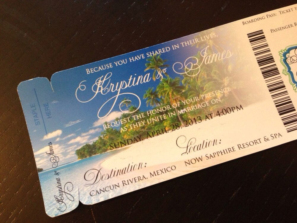 Boarding Pass Invite. Magnet Save The Date. Beach Wedding Invitation. Save Boarding Pass Wedding Invitation