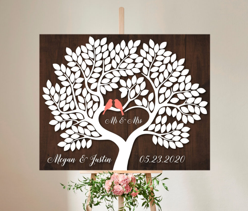 Rustic Wedding Guest Book Alternative Canvas Wedding Tree Signature With 200 Leaves Wooden