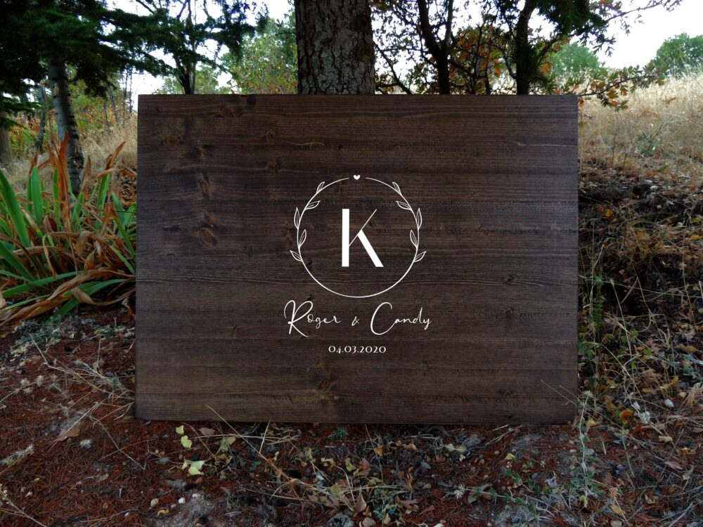 Unique Rustic Wedding Guest Book Alternative | Calligraphy Name Design Decor Sign Country Gift
