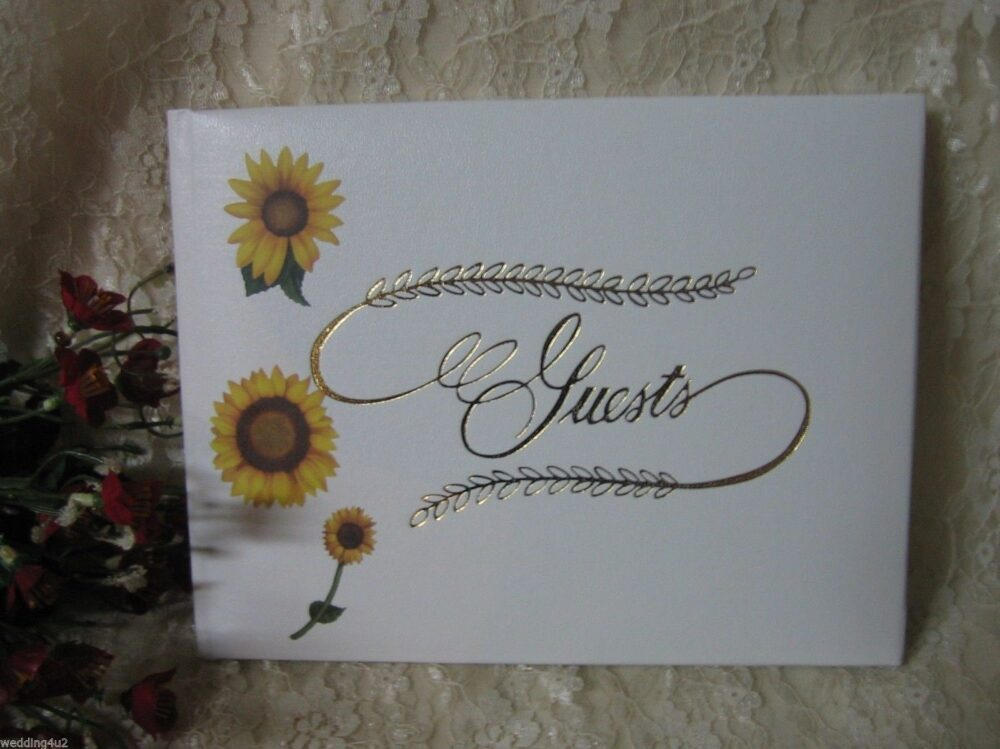 Wedding Ceremony Reception Party Event Sunflower Guest Book