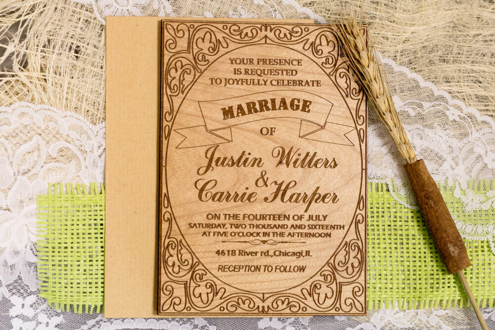 Custom Wedding Invitation Set Rustic Invitations Shabby Chic Unique Wooden Invitations
