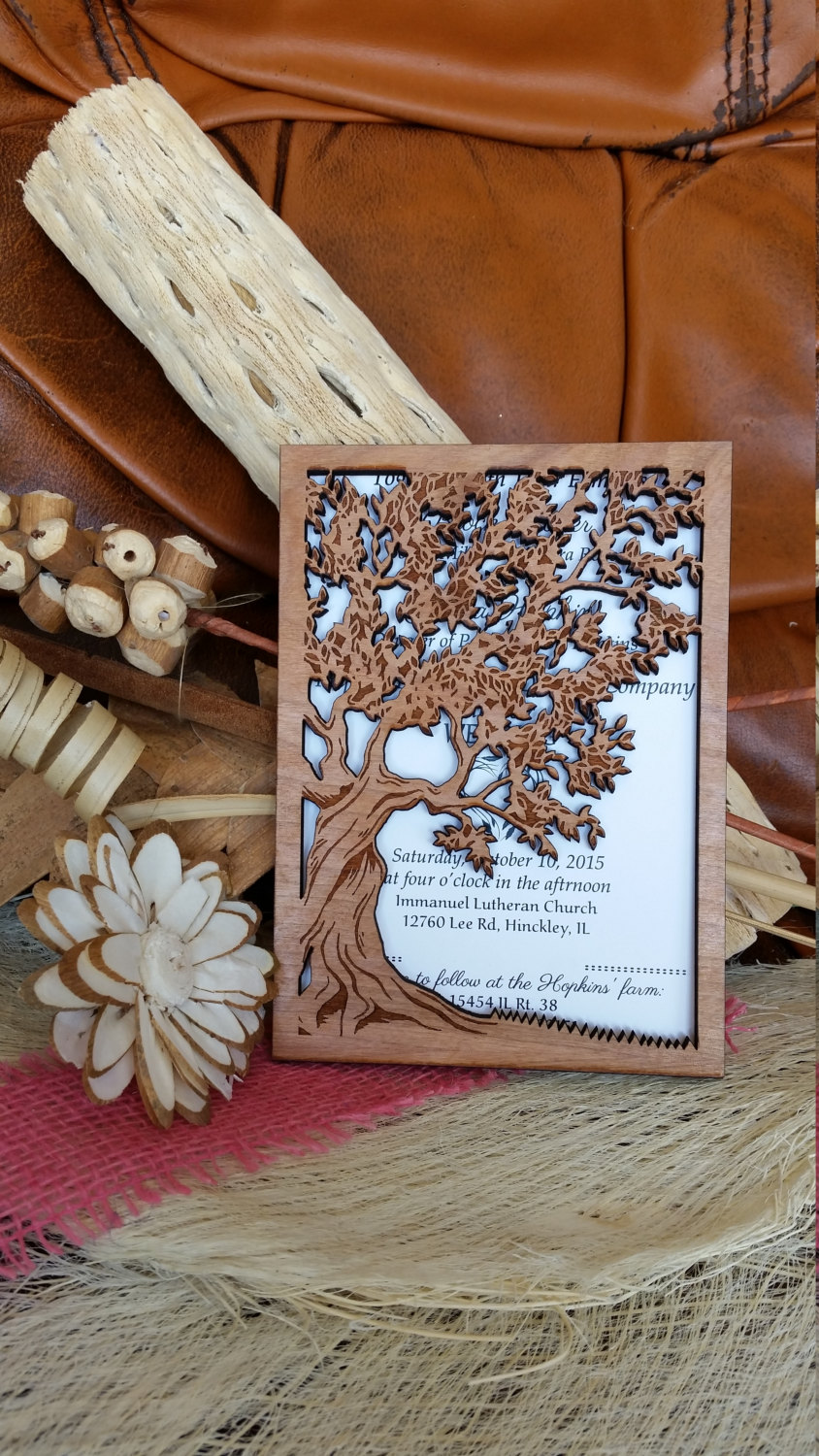 Wooden Wedding Invitation Suite, Rustic Invitations , Unique Invitation, Tree Invitations Custom Set Tree