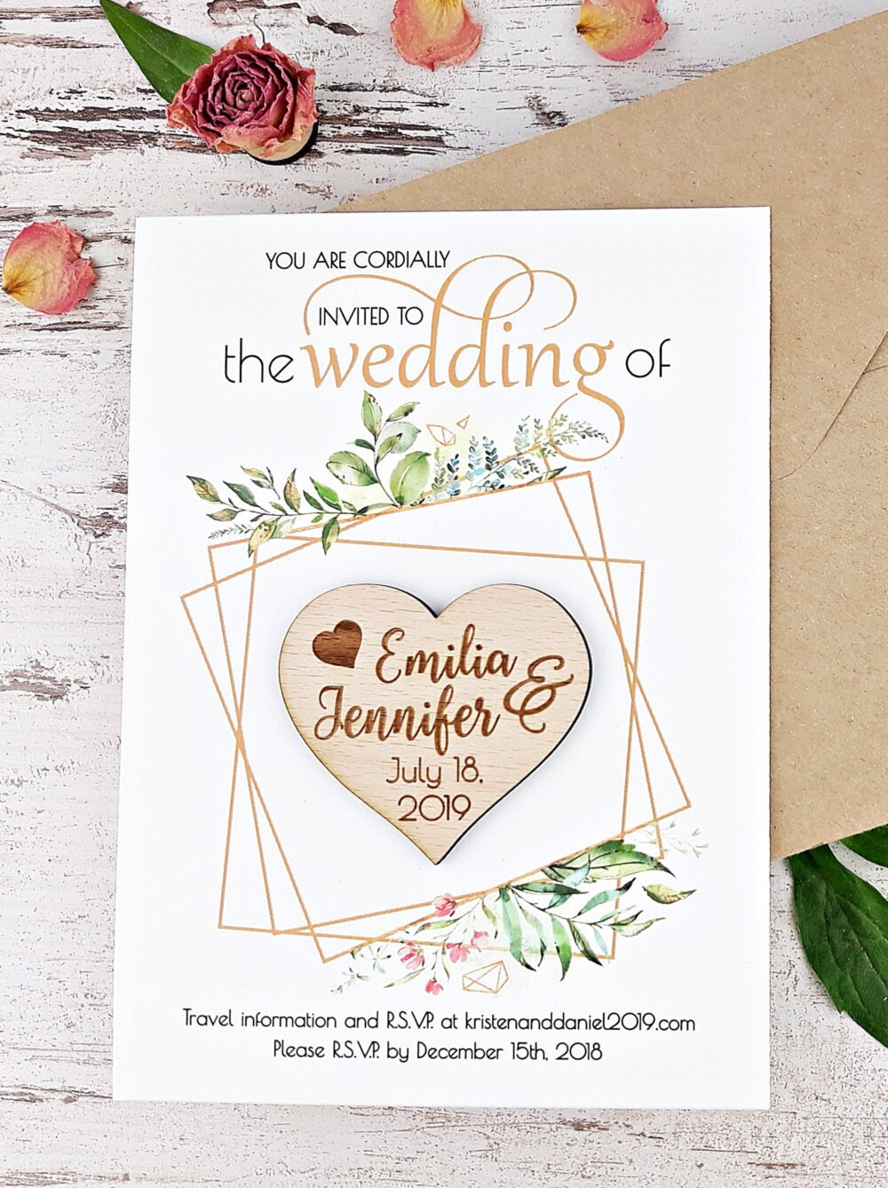 Botanical Wedding Wood Heart Invitation