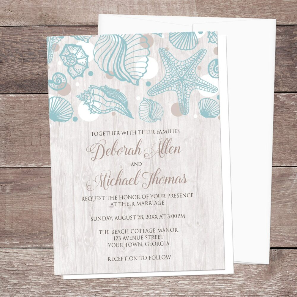 Beach Seashell Wedding Invitations, Whitewashed Wood, Rustic - Beach Wedding Invites Light Seashell Printed Invitations