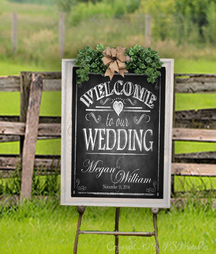 Personalized Welcome To Our Wedding Printable File | Sign, Diy Signage, Rustic Wedding, Chalkboard Sign