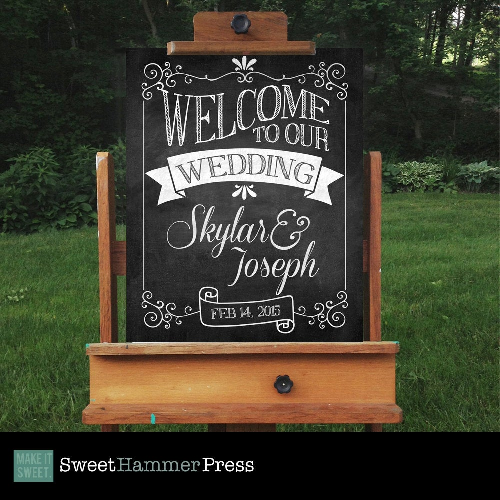 Welcome To Our Wedding Chalkboard Sign Signs Printed Poster Decor Signage Diy Decorations Reception