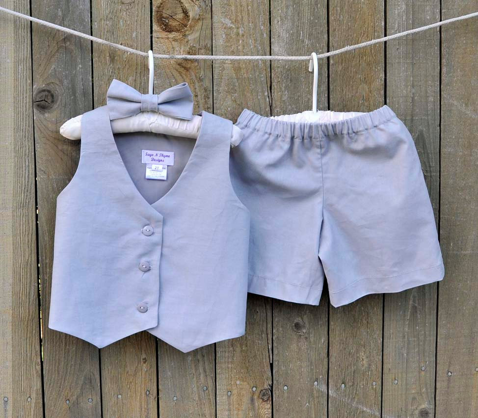 Gray Linen Shorts, Vest & Bowtie, Ring Bearer Suit, Many Colors, Beach Weddings, Photos, Dedications...6M, 12M, 2T, 3T, 4T, 5, 6, 7, 8, 10