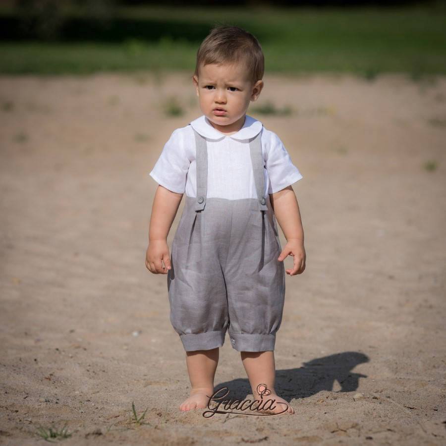 Gray Linen Romper Baby Boy Overalls Jumpsuit With Braces Boy Suspenders Outfit Ring Bearer Suit Baptism Summer Natural