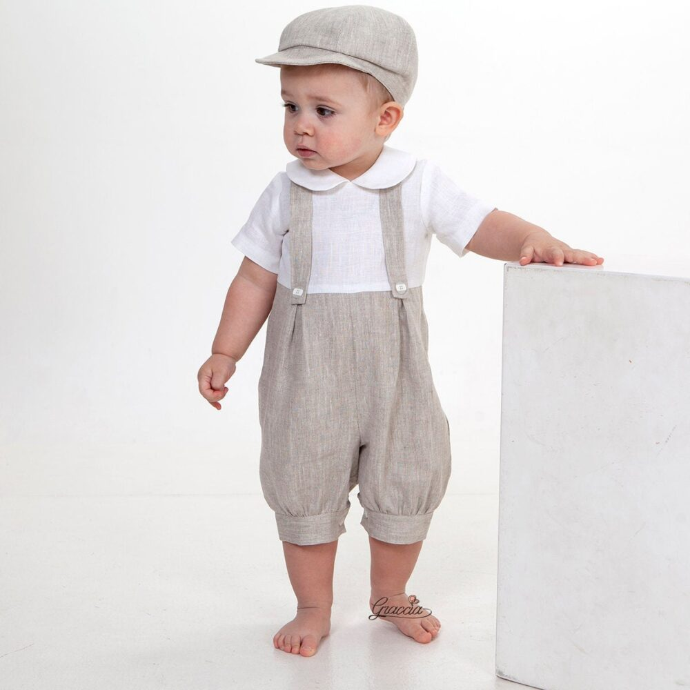 Newsboy Outfit Baby Boy Linen Romper Newsboy Hat Baptism Jumpsuit Ring Bearer Suit Overalls With Braces Boy Suspenders Light Melange
