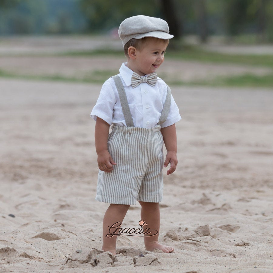 Newsboy Ring Bearer Suit Country Boy Linen Baby Rustic Outfit Page Suspenders Shorts Hat Boy Vintage