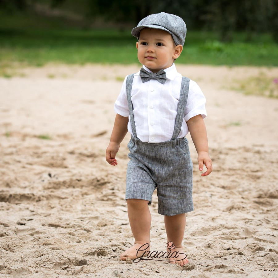 Ring Bearer Newsboy Outfit Baby Boy Linen Suit Wedding Formal Shorts Suspenders Newsboy Hat Photo Prop Page