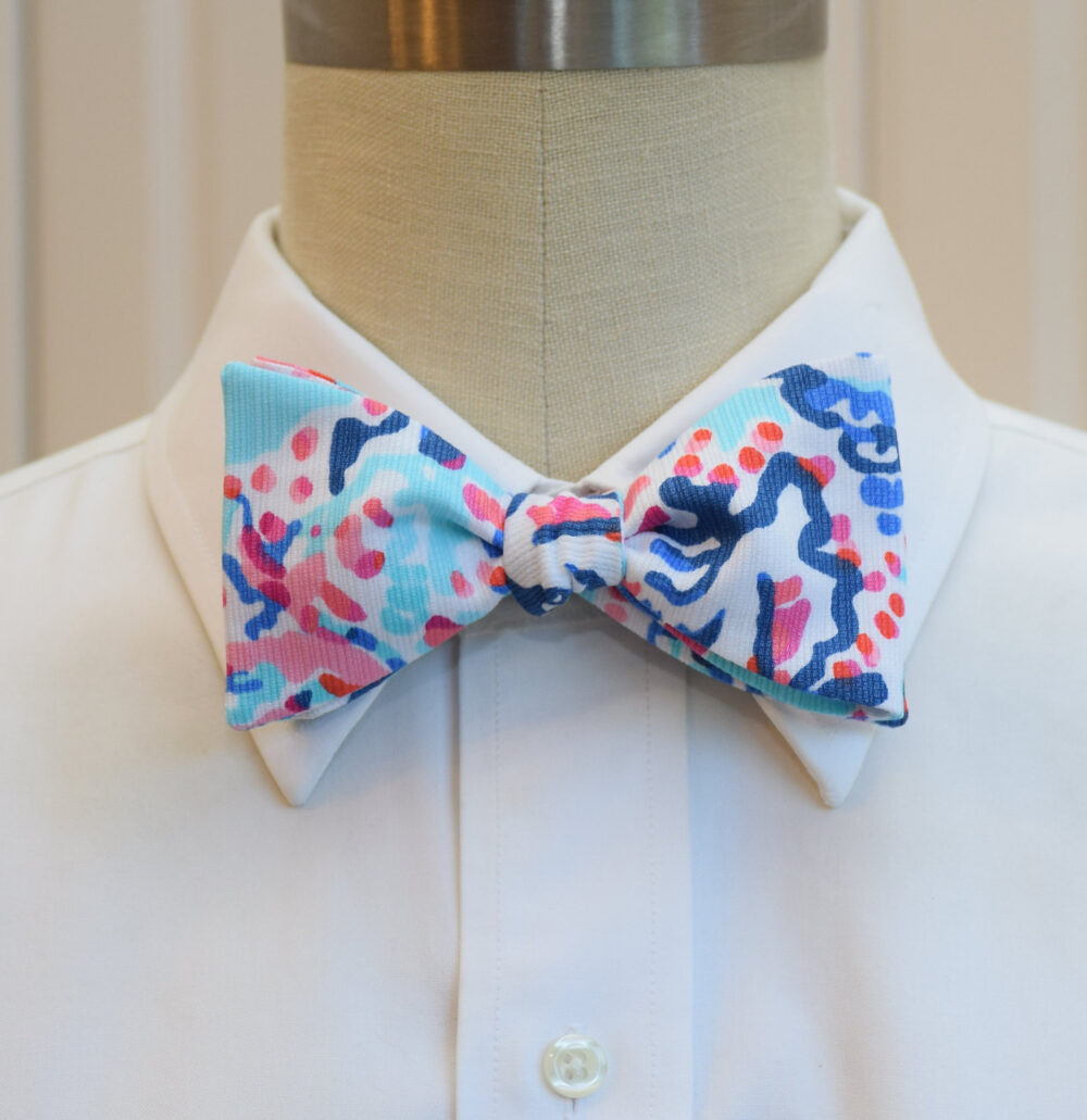 Men's Bow Tie, Shell Me About It Lilly Blue/Aqua/Pink Print Bow Tie, Wedding Groom/Groomsmen Prom Pastels Tie