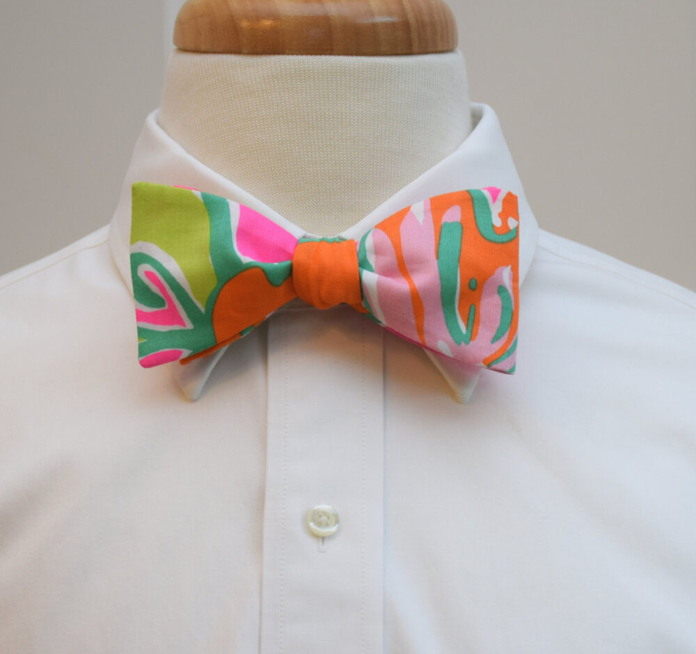 Men's Bow Tie, Going Stag Hot Pink/Orange/Lime Green Lilly Print Bow Tie, Wedding Groom Groomsmen Gift, Prom Tie