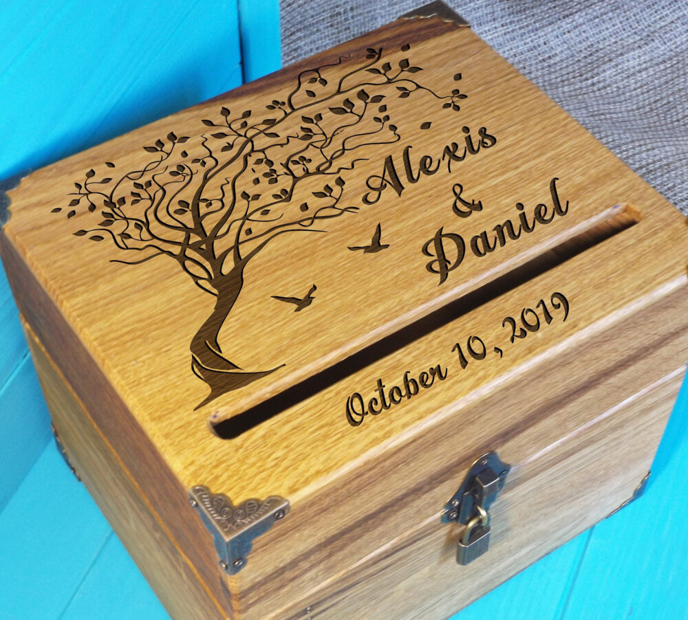 Wedding Box For Cards/Card Holder Wedding Reception Card Box/ Money With Lock/ Personalized Box/ Rustic