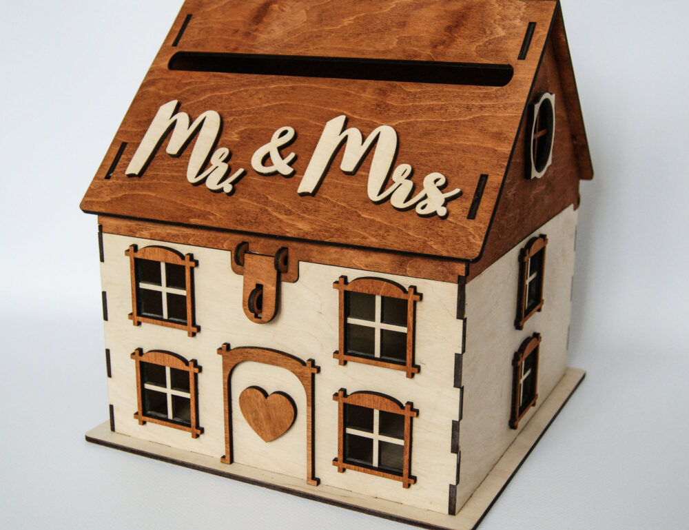 Rustic Card Box For Wedding Wooden Gift Holder Wedding House Envelope Money Post Lock