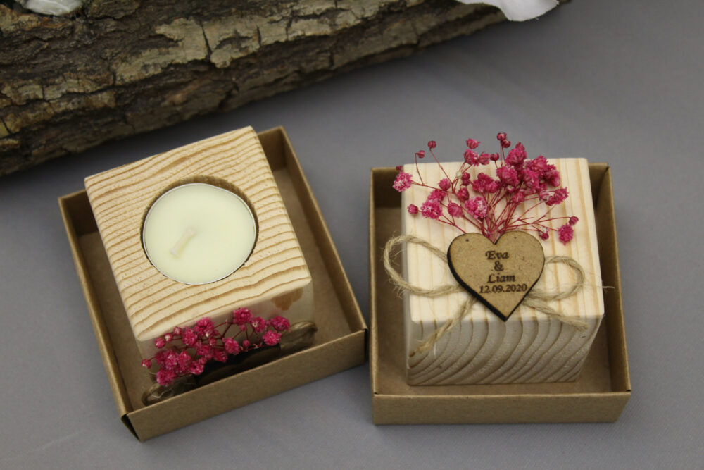 Personalized Wedding Favor Candles, Wooden Tealight Candle, For Guests in Bulk, Fall Favors, Rustic Favors