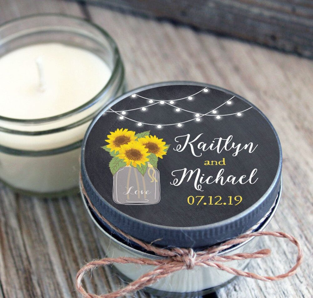 12 - 4 Oz Wedding Favor Candles //Sunflower Mason Jar Favor//Soy Candle Favor//Personalized Bridal Shower Favor//Shower Favor//Chalkboard