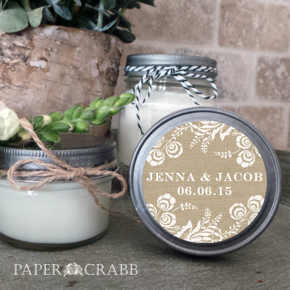 Soy Candle Wedding Favors - Set Of 12 4 Or 8 Oz Favor Candles Burlap Personalized Favors/Shower