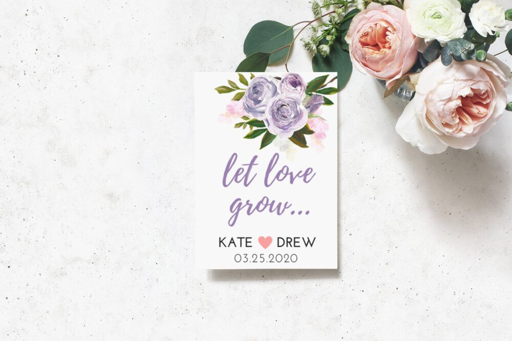 Lavender Rose - Custom Seed Packet Wedding Favors With Seeds Included, Spring Favors, Unique Floral Favor