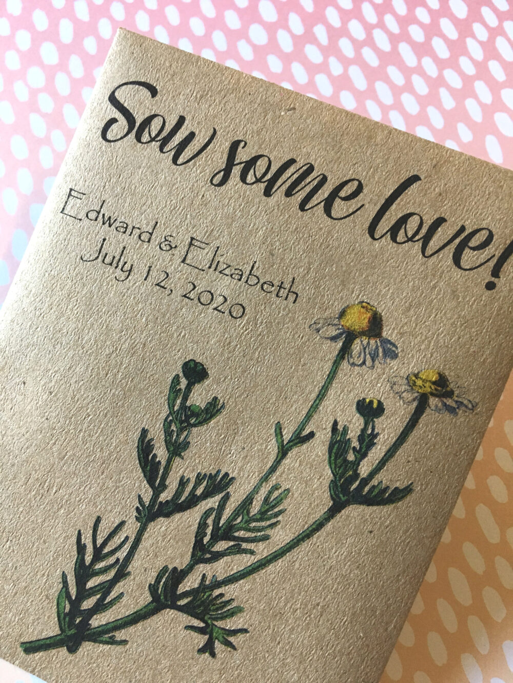 Wedding Favor Seed Envelopes - Sow Some Love . Pretty Daisy Themed Rustic Kraft Sealable Packets Personalized Custom Printed Daisies