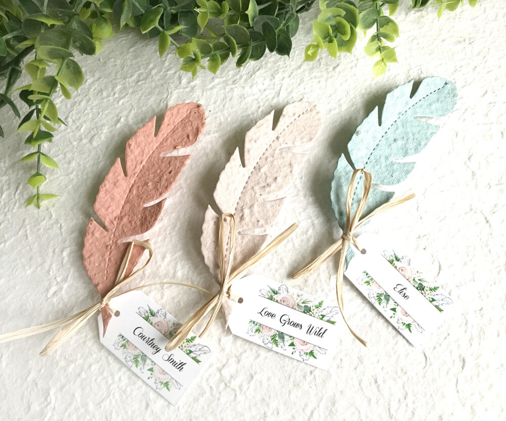 Love Grows Wild Plantable Boho Wedding Favors Seed Paper Feathers - Faded Vintage