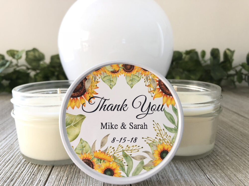 Set Of 6 Thank You Wedding Favor, Candle Sunflower Personalized 4Oz Party Favor