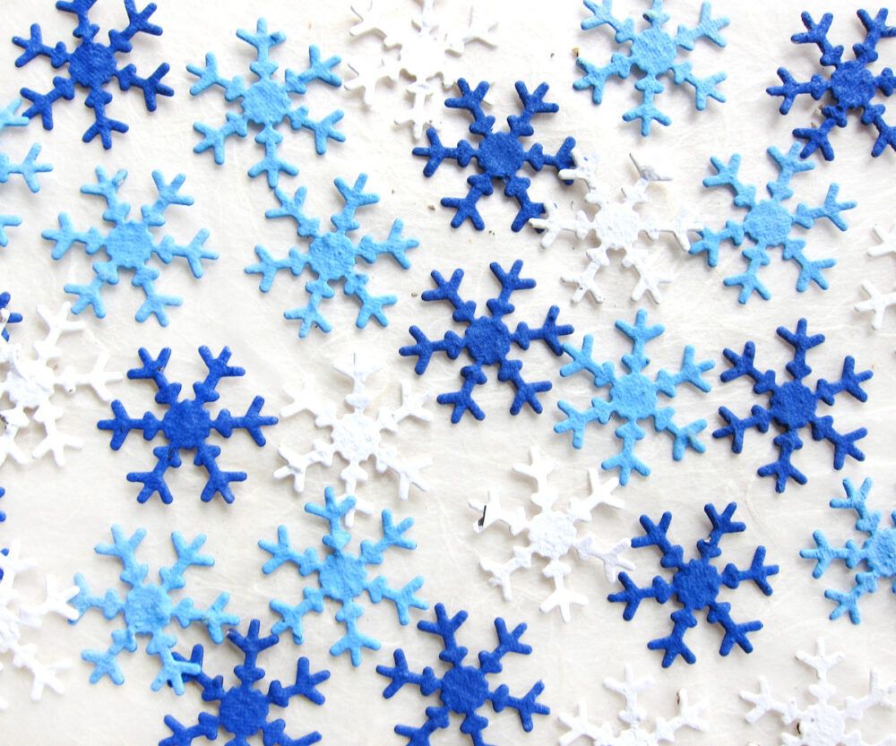 100 Plantable Snowflakes Seed Paper Confetti - Winter Wedding Favors Flower