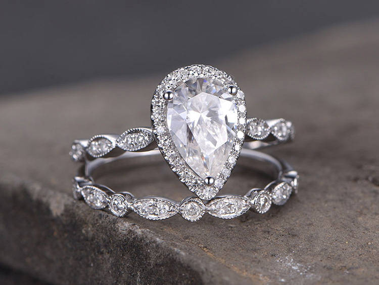Pear Shaped Silver Ring Set/Cubic Zirconia Wedding Band/Cz Engagement Ring/stack Ring/2Pc Matching Ring/Marquise Band/White Gold Plated