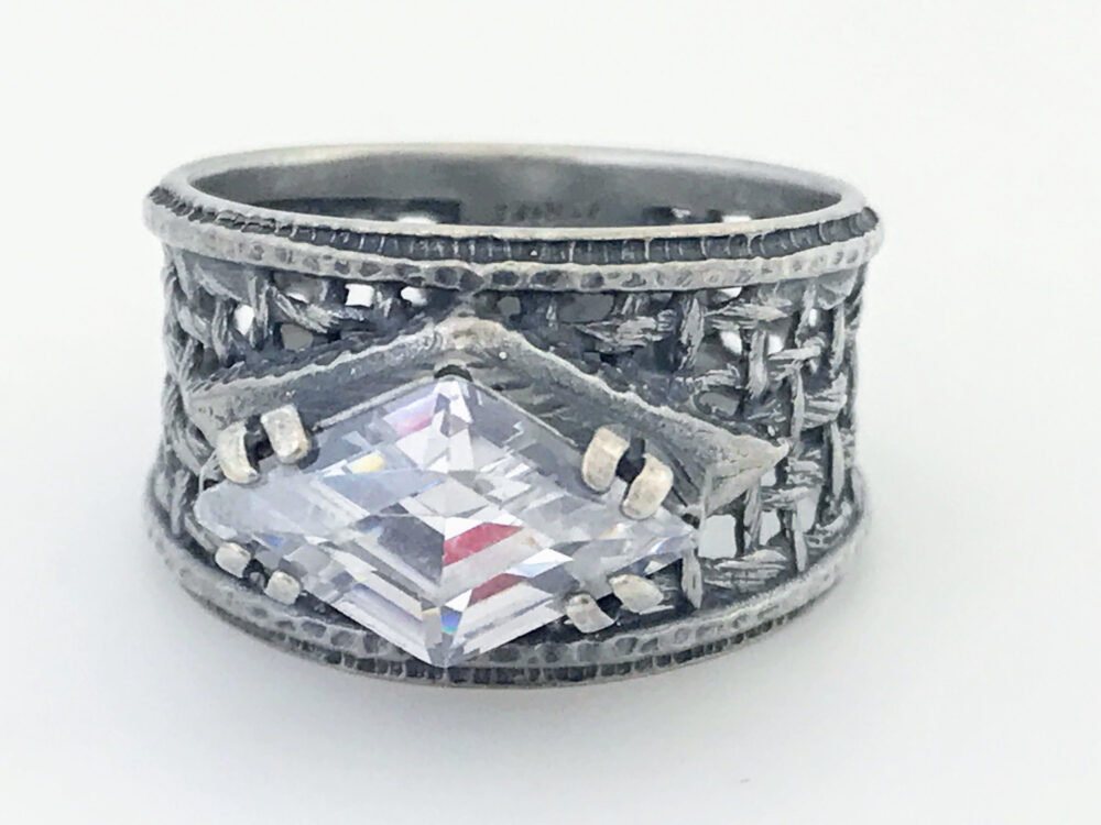 Silpada Sterling Silver Cz Filigree Ring, Silpada Wide Woven Marquise Chunky Clear Stone Oxidized Weave Band Ring