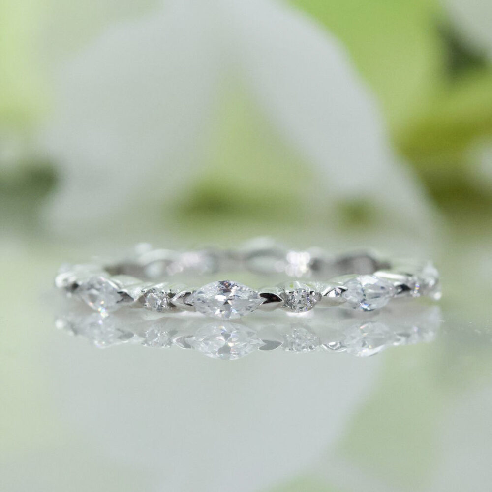 Marquise & Round Cut Cubic Zirconia Wedding Band in Sterling Silver, Anniversary Ring, Travel | 121