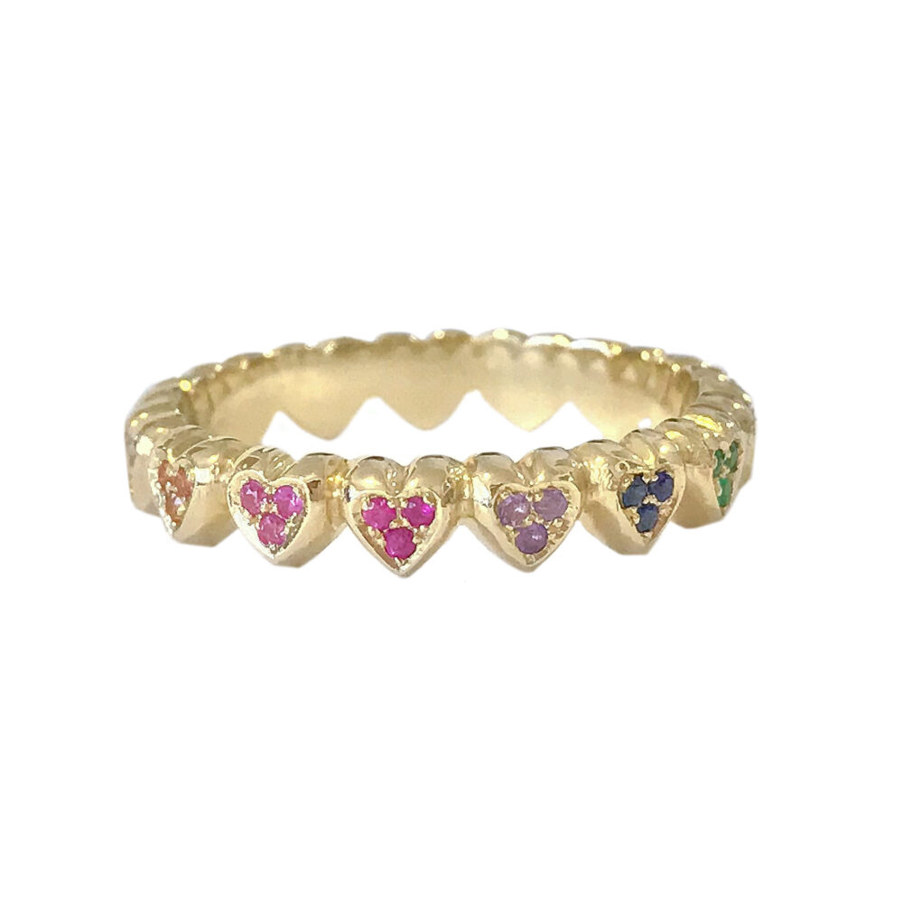Heart Shaped Rainbow 14K Solid Gold Stack Eternity Band Ring | Rainbow Gemstone Hearts Full Style Stackable Dainty Stacking Bands