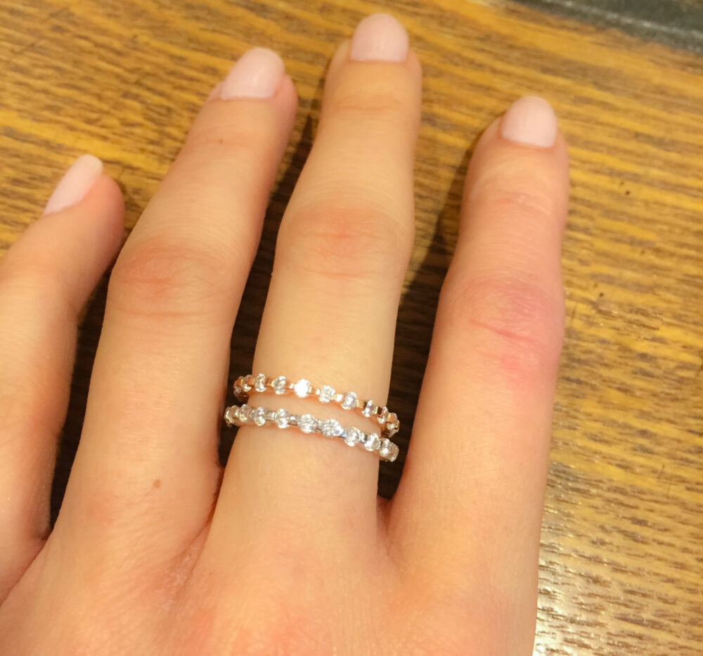 Rose Gold Eternity Band, Wedding Ring, Cz Ring-Rose Gold Cz -stackable Ring-Band Ring-Eternity Band Rings