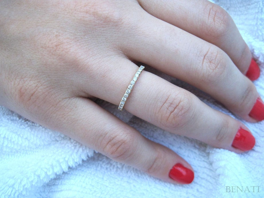 stackable Diamond Eternity Band, Ring, Wedding Diamonds Go Half Way Around, Gold Band With