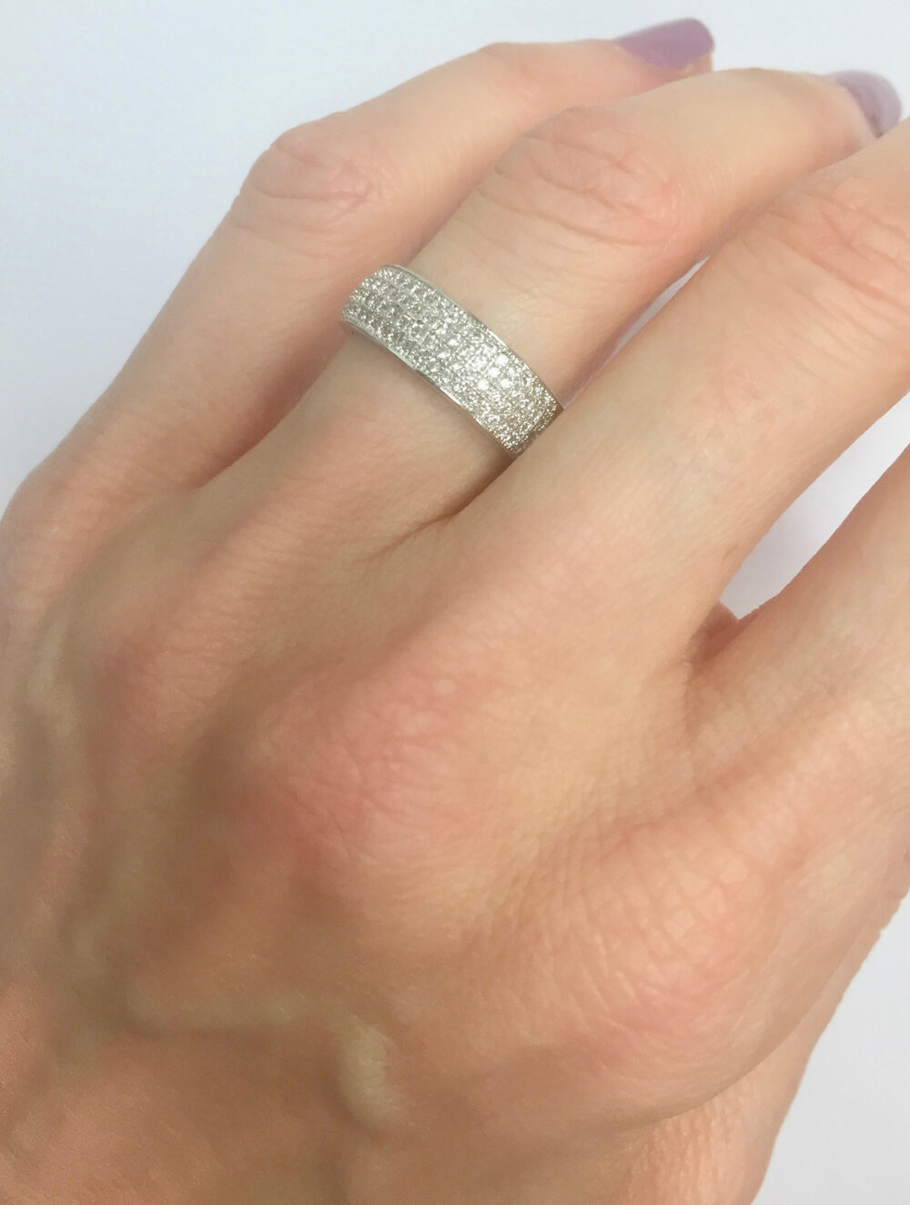 925 Silver Cz Eternity Ring, All Around Pave Band, Micro Stack Wedding Stacking Band, Bridal Eternity Band Ring