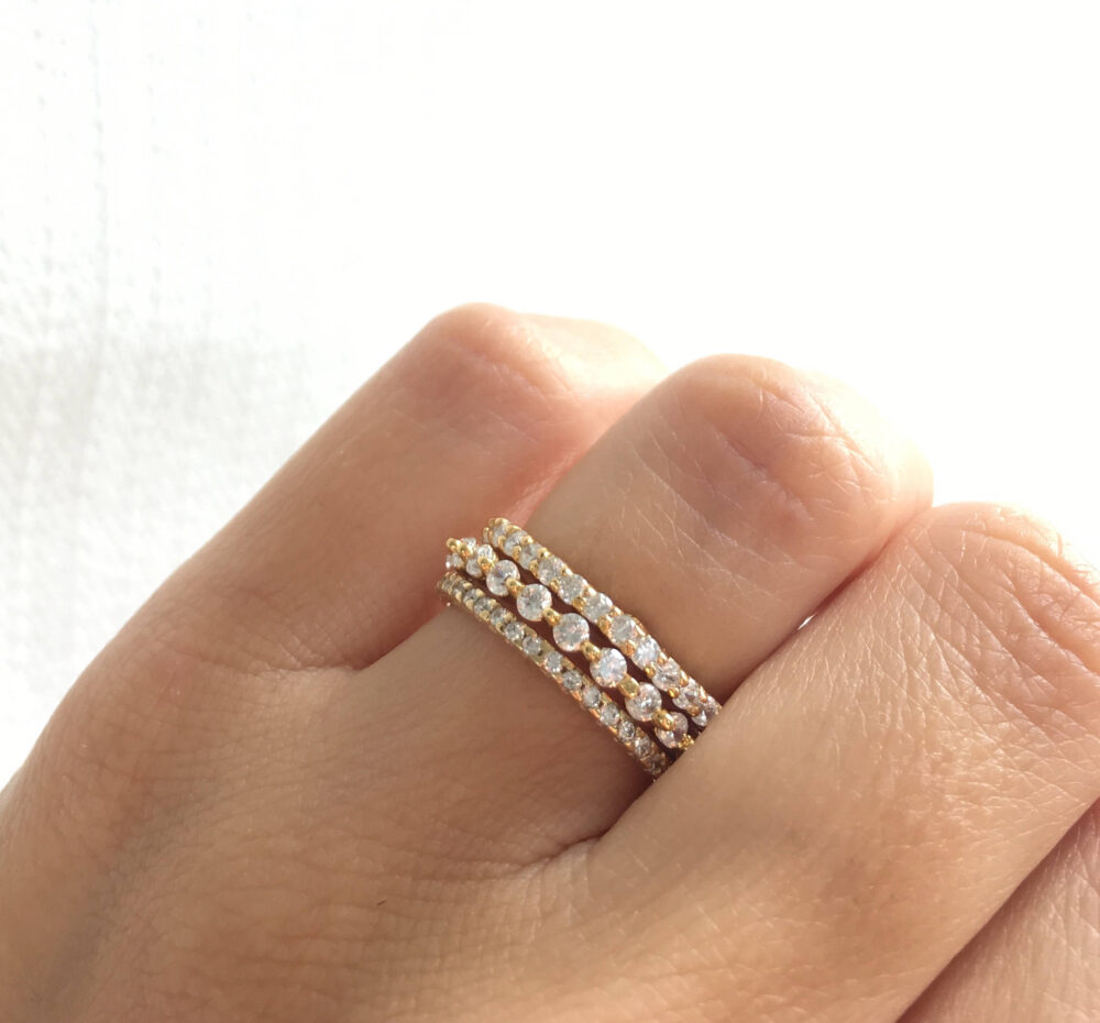 Gold Eternity Band Ring. Stackable Rings. Stacking Ring Set. Wedding Bands. Luxury