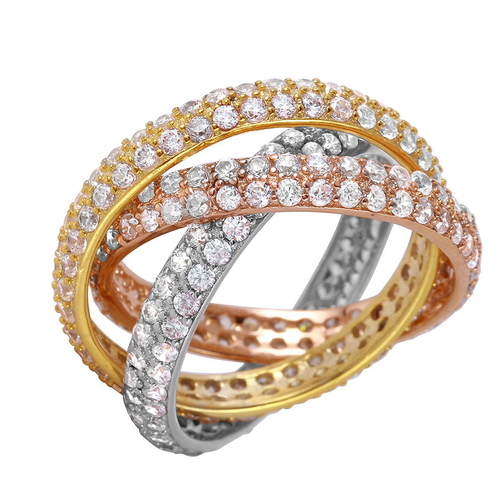 stackable Ring Set, Multi Colored Full Eternity Band Ring, Wide Band, , Gold Plated Rings