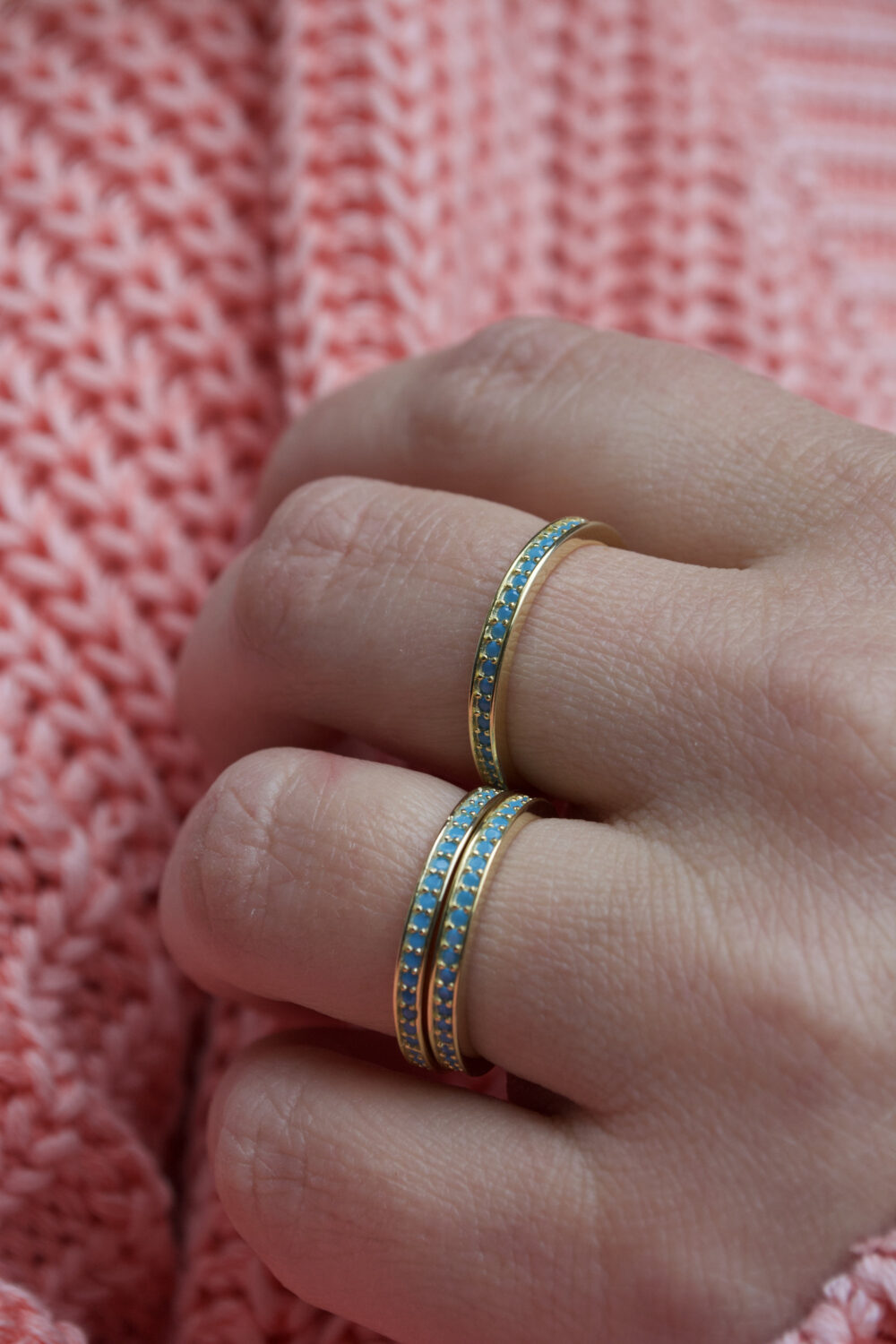 Turquoise Eternity Band Ring| Stacking Gold Turquoise